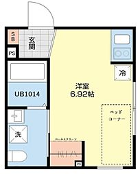 東京メトロ半蔵門線 住吉駅 徒歩5分の賃貸マンション 5階ワンルームの間取り