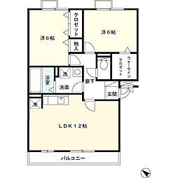 レジデンスヒルズB[2階]の間取り