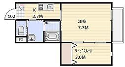 埼玉県さいたま市見沼区東大宮3丁目の賃貸アパートの間取り