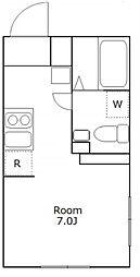 たすきCRASSO都立大学 A棟 地下1階ワンルームの間取り