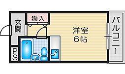 ファインクレスト江坂 6階ワンルームの間取り
