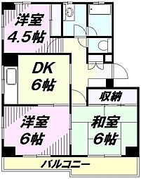 埼玉県所沢市旭町の賃貸マンションの間取り