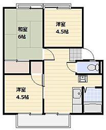 サンシティ本宿A 2階3DKの間取り