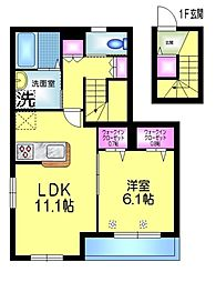 JR総武線 小岩駅 徒歩11分の賃貸マンション 2階1LDKの間取り