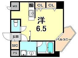 阪神本線 西宮駅 徒歩7分の賃貸マンション 5階ワンルームの間取り