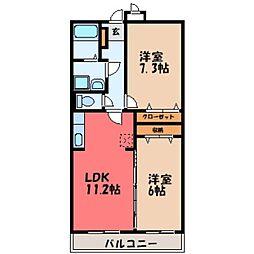 栃木県小山市粟宮1の賃貸マンションの間取り