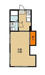 東武東上線 志木駅 徒歩24分の賃貸アパート 2階1Kの間取り