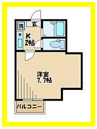 東急田園都市線 高津駅 徒歩11分の賃貸アパート 2階1Kの間取り