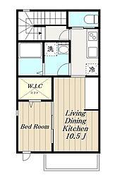 JR横浜線 成瀬駅 徒歩8分の賃貸アパート 2階1LDKの間取り
