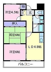 大阪府松原市上田7の賃貸マンションの間取り