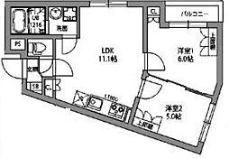 東急東横線 都立大学駅 徒歩9分の賃貸マンション 2階2LDKの間取り