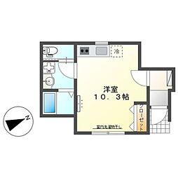 京成本線 実籾駅 徒歩19分の賃貸アパート 1階ワンルームの間取り