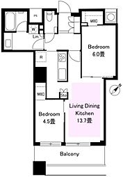 ザ・パークハウス西新宿タワー60 39階2LDKの間取り