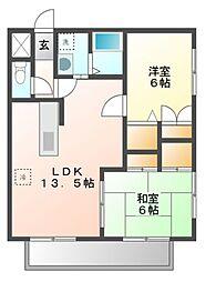 愛知県豊橋市柱二番町の賃貸アパートの間取り