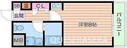 大阪モノレール彩都線 彩都西駅 徒歩23分の賃貸マンション 2階ワンルームの間取り
