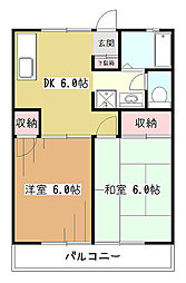 ハイツクリスタル[1階]の間取り