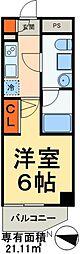 JR常磐線 松戸駅 徒歩7分の賃貸マンション 3階1Kの間取り