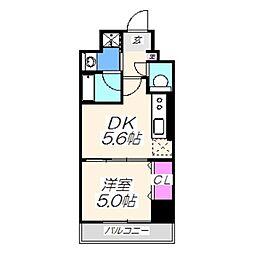 グレースエビス 3階1DKの間取り