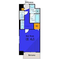 東急目黒線 不動前駅 徒歩8分の賃貸マンション 1階1Kの間取り