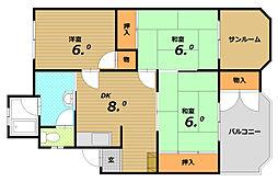 コーポ木戸[3階]の間取り