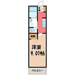 東武宇都宮線 東武宇都宮駅 徒歩18分の賃貸アパート 1階1Kの間取り