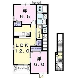 愛知県岡崎市百々町字七社の賃貸アパートの間取り