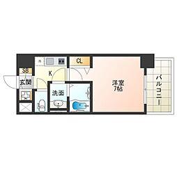 阪神なんば線 九条駅 徒歩9分の賃貸マンション 13階1Kの間取り