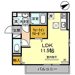 JR阪和線 和歌山駅 徒歩31分の賃貸アパート 1階ワンルームの間取り
