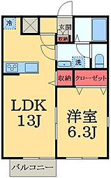 千葉県市原市更級2丁目の賃貸アパートの間取り