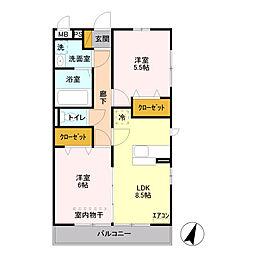 埼玉県草加市両新田西町の賃貸アパートの間取り