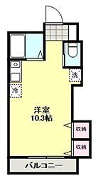 東武東上線 柳瀬川駅 徒歩12分の賃貸アパート 2階ワンルームの間取り