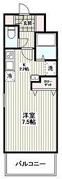 プリムローズ M 弐番館 2階1Kの間取り