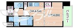 JR大阪環状線 京橋駅 徒歩5分の賃貸マンション 6階1DKの間取り