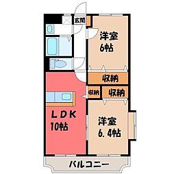 栃木県栃木市平柳町2丁目の賃貸マンションの間取り