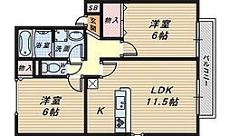 セジュール清和 A・B棟[2階]の間取り