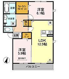 JR高崎線 北本駅 徒歩21分の賃貸アパート 1階2LDKの間取り