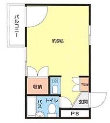 第2山崎ビル 3階ワンルームの間取り