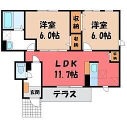 栃木県鹿沼市睦町の賃貸アパートの間取り