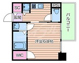 Osaka Metro谷町線 谷町九丁目駅 徒歩10分の賃貸マンション 15階1Kの間取り