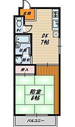 レインボー古市[3階]の間取り