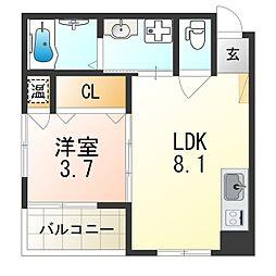 阪急神戸本線 神崎川駅 徒歩8分の賃貸アパート 3階1LDKの間取り