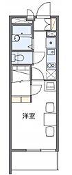 西武拝島線 武蔵砂川駅 徒歩18分の賃貸アパート 2階1Kの間取り