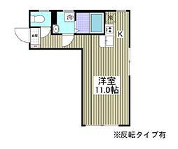 都営三田線 本蓮沼駅 徒歩13分の賃貸マンション 2階ワンルームの間取り