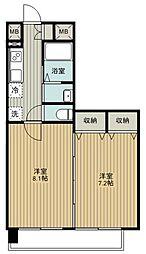 東武東上線 朝霞台駅 徒歩4分の賃貸マンション 5階2Kの間取り