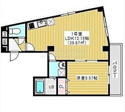 JR総武線 千葉駅 徒歩15分の賃貸マンション 5階1LDKの間取り
