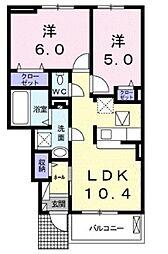 JR東北本線 蓮田駅 徒歩18分の賃貸アパート 1階2LDKの間取り