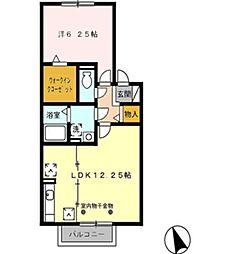 愛知県豊田市吉原町平池丁目の賃貸アパートの間取り