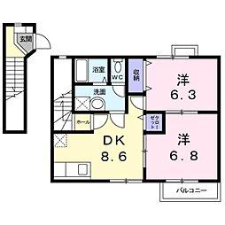 愛知県豊田市美山町5丁目の賃貸アパートの間取り
