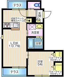 横浜市営地下鉄ブルーライン 港南中央駅 徒歩15分の賃貸マンション 1階1LDKの間取り
