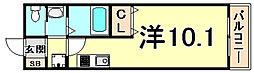 阪急西宮マンション 4階ワンルームの間取り